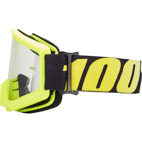 100% Strata Goggles, neon yellow/anti fog clear